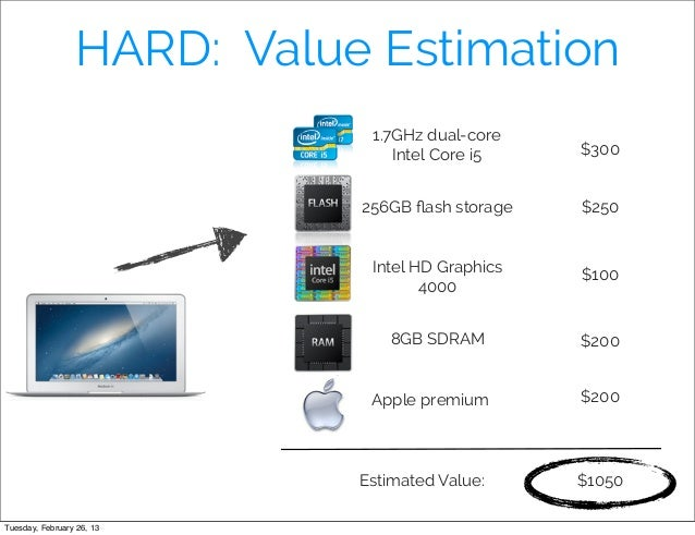 HARD: Value Estimation                             1.7GHz dual-core                                Intel Core i5    $300  ...