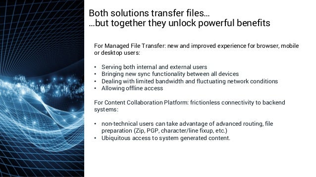 axway.com Both solutions transfer files… …but together they unlock powerful benefits For Managed File Transfer: new and im...