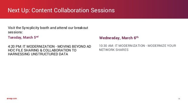 axway.comaxway.com 14 Tuesday, March 5nd 4:20 PM: IT MODERNIZATION - MOVING BEYOND AD HOC FILE SHARING & COLLABORATION TO ...
