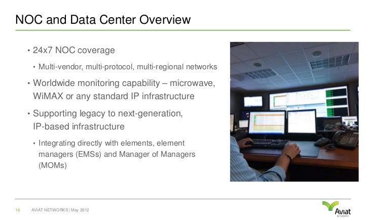 NOC and Data Center Overview     • 24x7 NOC coverage      • Multi-vendor, multi-protocol, multi-regional networks     • Wo...