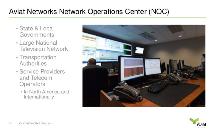 Aviat Networks Network Operations Center (NOC)     • State & Local       Governments     • Large National       Television...