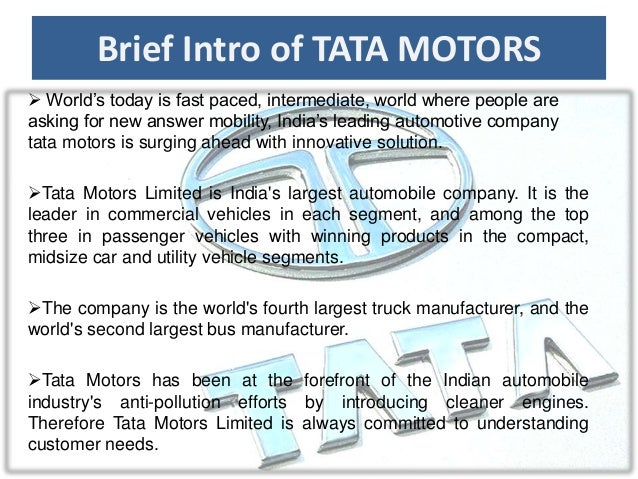 an introduction to the history of the tata group company Company history - tata motors: the sanand plant was inaugurated by tata group chairman ratan tata and gujarat chief minister narendra modi.