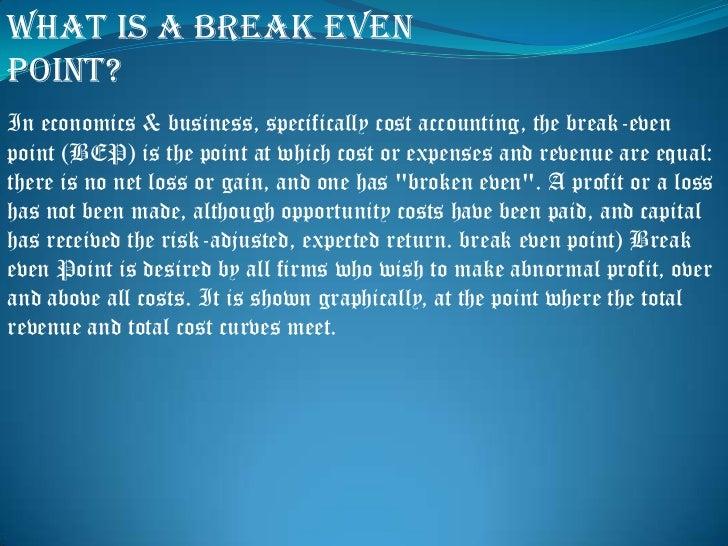 break even analysis Slide 3