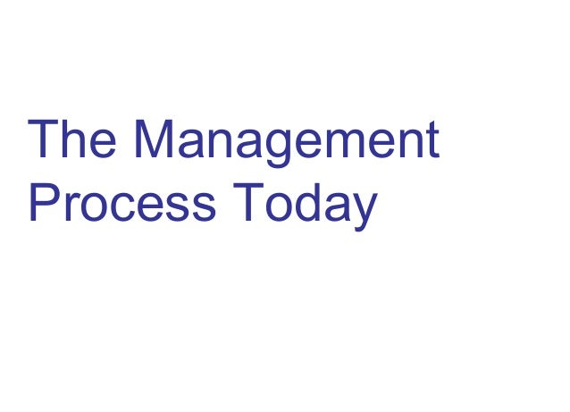 The Management Process Today