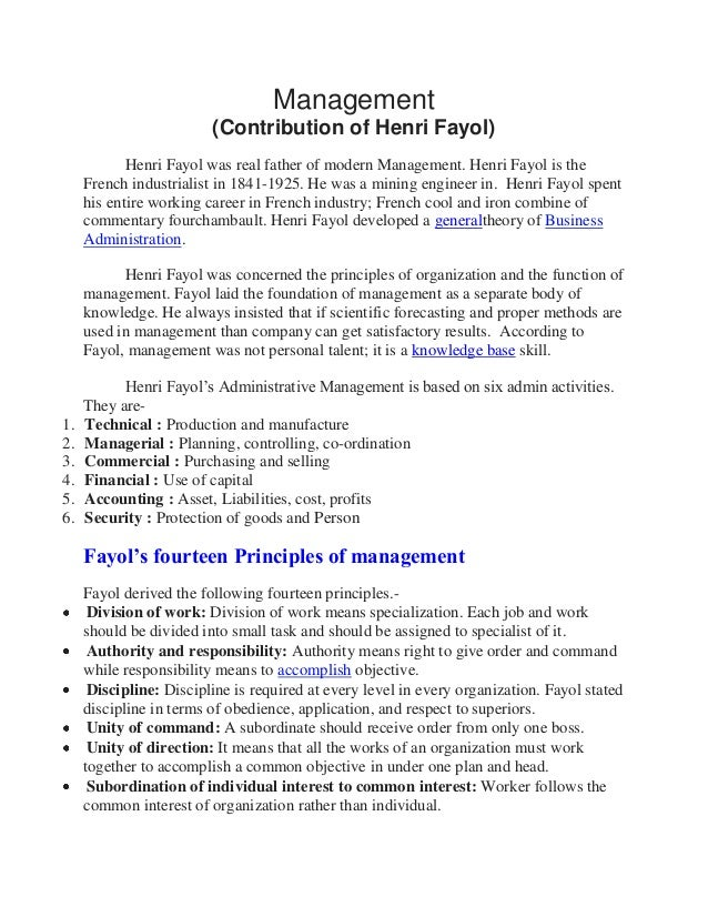 Management (Contribution of Henri Fayol) Henri Fayol was real father of modern Management. Henri Fayol is the French indus...