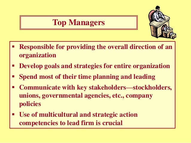 top managers responsibilities Each manager carries out the management responsibilities we  at the top of the program management hierarchy are the  managers should plan a.
