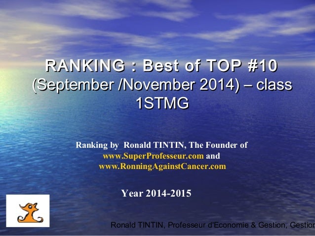 Ronald TINTIN, Professeur d'Economie & Gestion, Gestion Ranking by Ronald TINTIN, The Founder of www.SuperProfesseur.com a...