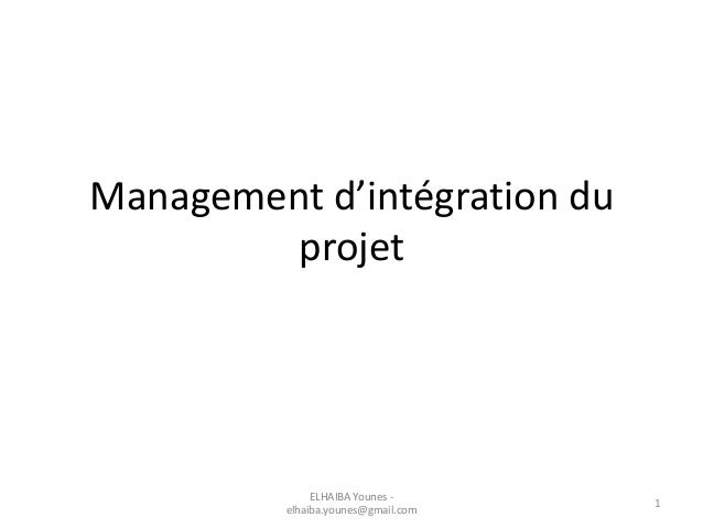 Management d'intégration du projet ELHAIBA Younes - elhaiba.younes@gmail.com 1