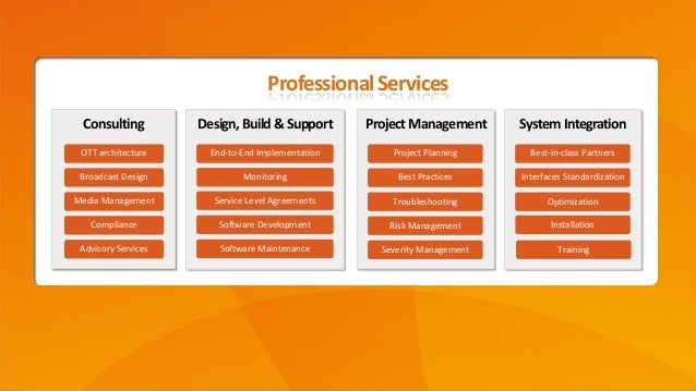 Confidential ©2014 Page13 Consulting OTT architecture Design,Build&Support Broadcast Design Media Management Professiona...