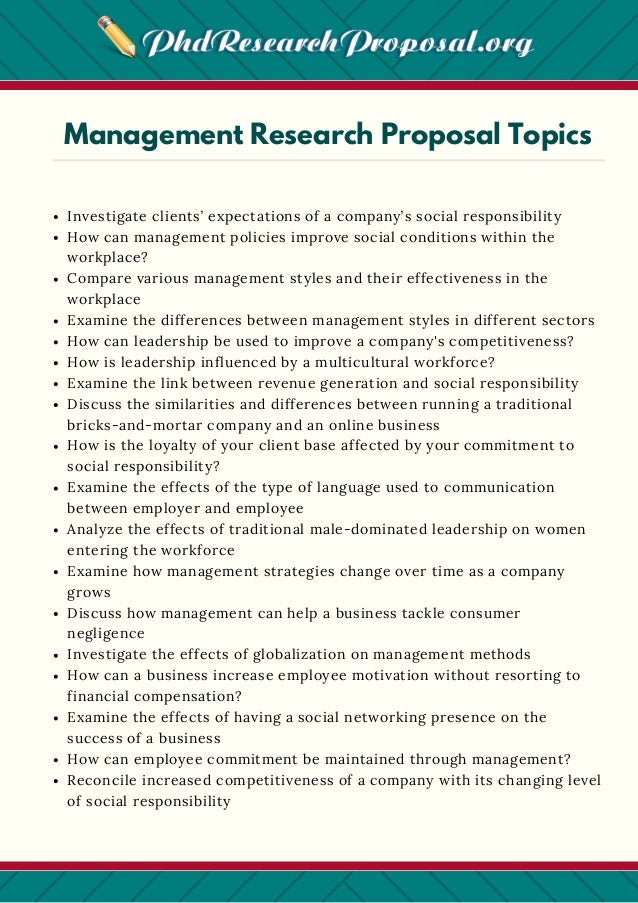 Some Good Research Proposal Topics