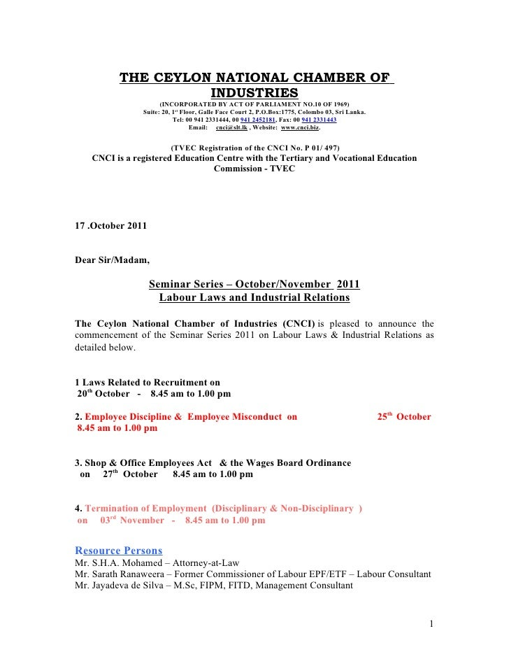 Management  Seminar Series  National  Chamber Of  Commerce