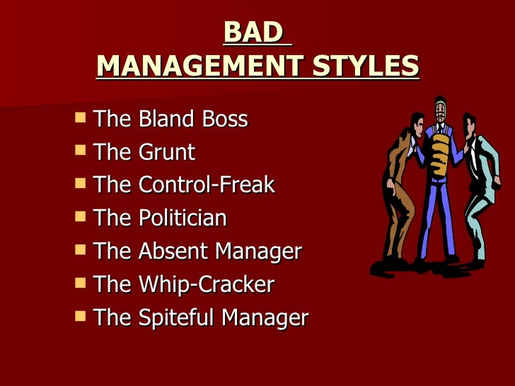 manager style Every manager has their own style, but just about every management style falls under one of six major categories sometimes the management style does not fit the.