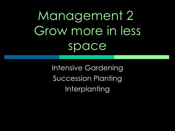 Management 2  Grow more in less space Intensive Gardening Succession Planting Interplanting