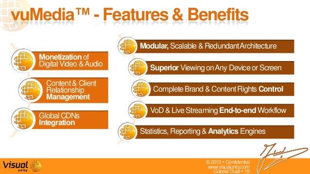 © 2013  Confidentialwww.visualunity.comGabriel Dusil  16vuMedia™ - Features & BenefitsModular,Scalable& RedundantArchite...