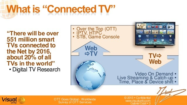 """© 2013  Confidentialwww.visualunity.comGabriel Dusil  3""""There will be over551 million smartTVs connected tothe Net by 20..."""