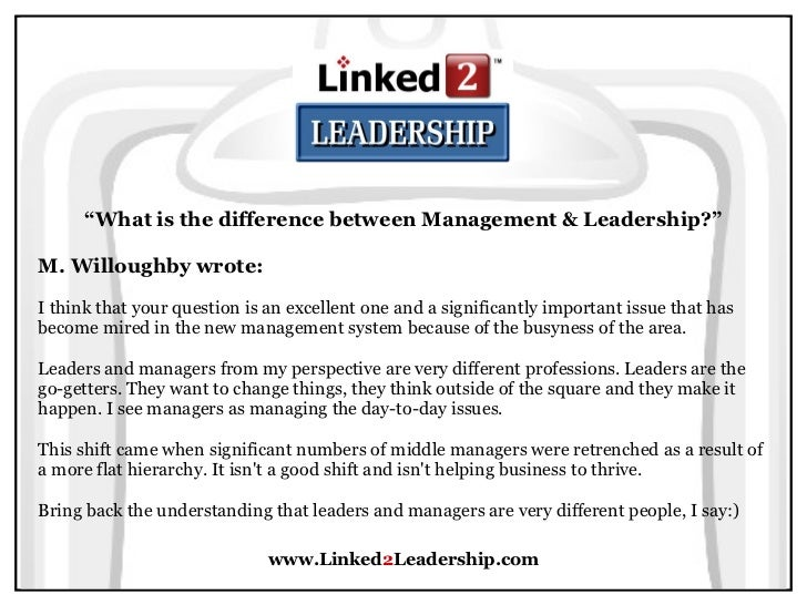 management vs leadership linked leadership 12