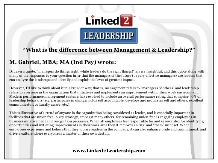 management vs leadership linked leadership 73