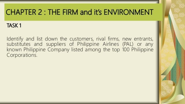 CHAPTER 2 : THE FIRM and it's ENVIRONMENT TASK 1 Identify and list down the customers, rival firms, new entrants, substitu...