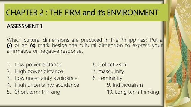 CHAPTER 2 : THE FIRM and it's ENVIRONMENT ASSESSMENT 1 Which cultural dimensions are practiced in the Philippines? Put a (...