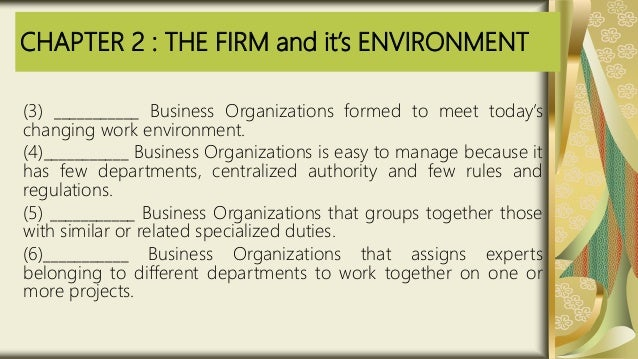 CHAPTER 2 : THE FIRM and it's ENVIRONMENT (3) ___________ Business Organizations formed to meet today's changing work envi...
