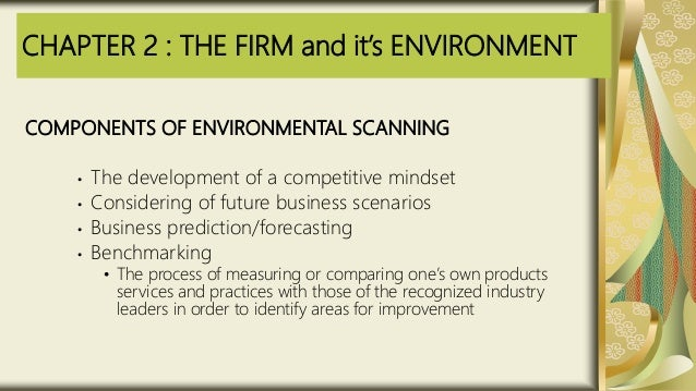 CHAPTER 2 : THE FIRM and it's ENVIRONMENT COMPONENTS OF ENVIRONMENTAL SCANNING • The development of a competitive mindset ...