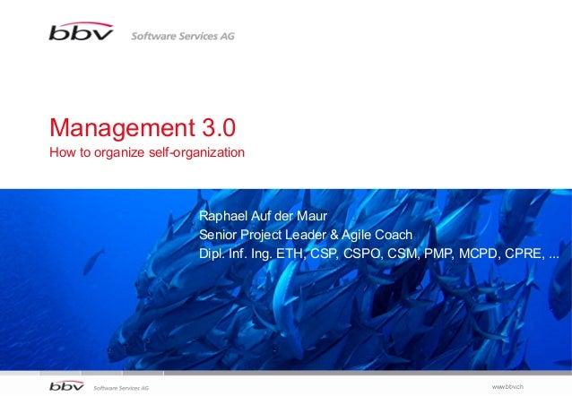 Management 3.0How to organize self-organization                         Raphael Auf der Maur                         Senio...