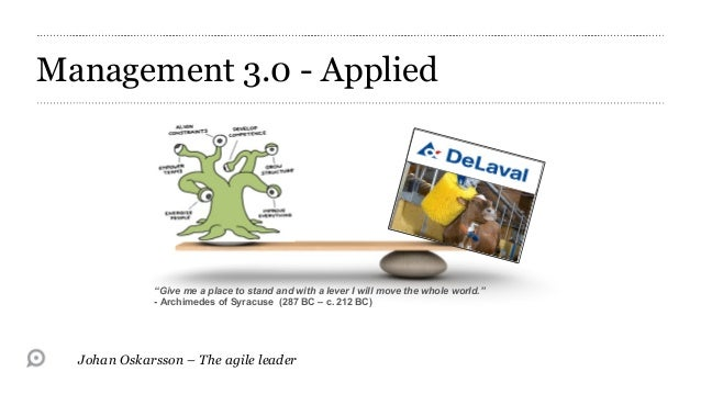 "Management 3.0 - Applied             ""Give me a place to stand and with a lever I will move the whole world.""             ..."