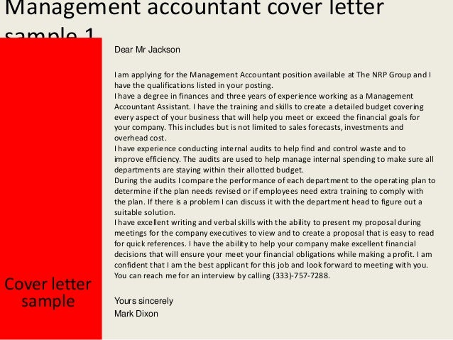 Management Accountant Cover Letter ...