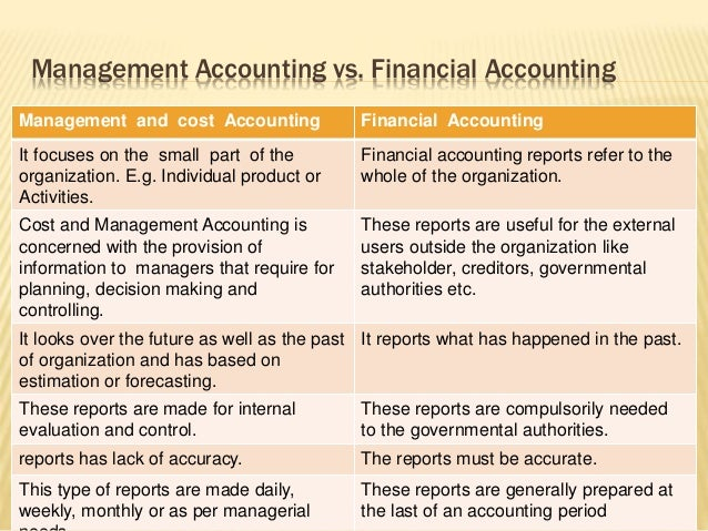 financial accounting versus managerial accounting essay This free finance essay on essay: management accounting is perfect for finance students to use as an example managerial vs financial accounting.