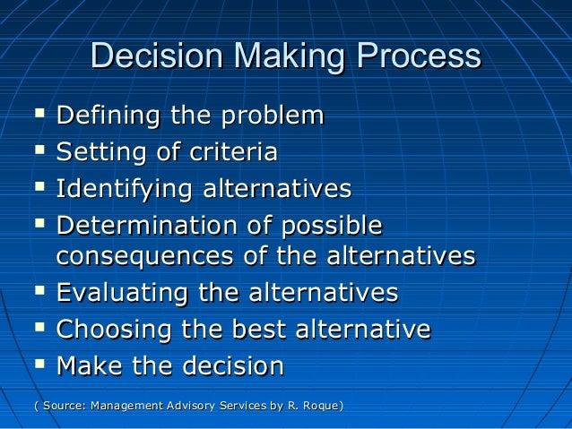 Decision Making ProcessDecision Making Process  Defining the problemDefining the problem  Setting of criteriaSetting of ...