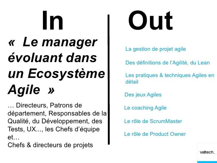 In                        Out« Le manager                       La gestion de projet agileévoluant dans                   ...