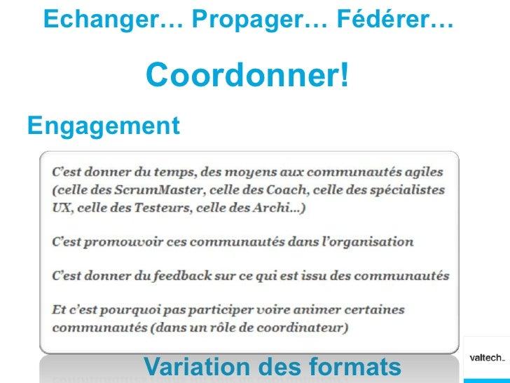 Echanger… Propager… Fédérer…       Coordonner!Engagement       Variation des formats