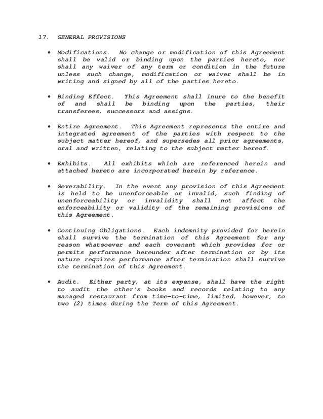 Management agreement sample – Landscape Contracts Sample
