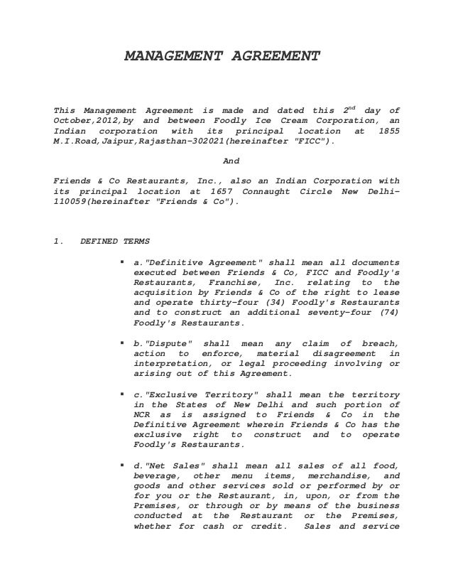 Management agreement sample for Event management agreement template