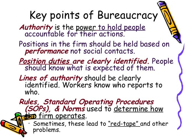 theory of impersonality Advantages and disadvantages of bureaucracy: a bureaucratic organization provides the advantages of specialization because every member is assigned a specialized task to perform.