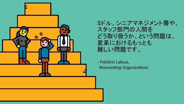 ミドル、シニアマネジメント層や、 スタッフ部門の人間を どう取り扱うか、という問題は、 変革におけるもっとも 難しい問題です。  -FrédéricLaloux, Reinven/ngOrganiza/ons