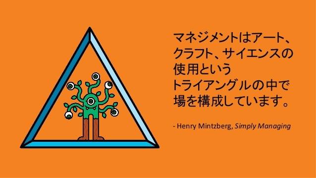 マネジメントはアート、 クラフト、サイエンスの 使用という トライアングルの中で 場を構成しています。  -HenryMintzberg,SimplyManaging