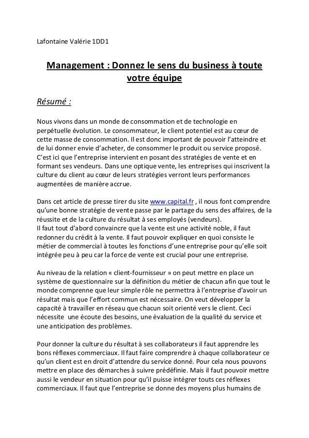 Lafontaine Valérie 1DD1   Management : Donnez le sens du business à toute                  votre équipeRésumé :Nous vivons...