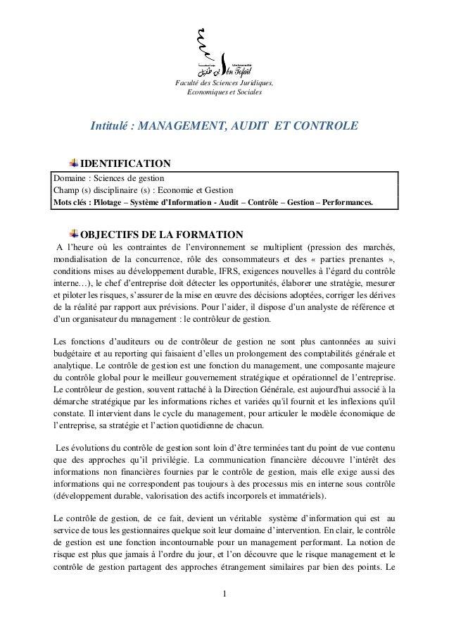 1 Faculté des Sciences Juridiques, Economiques et Sociales Intitulé : MANAGEMENT, AUDIT ET CONTROLE IDENTIFICATION Domaine...