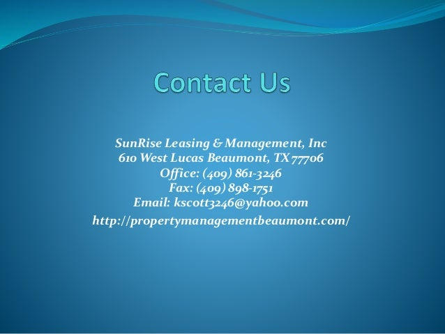 Sunrise Property Management Beaumont Tx