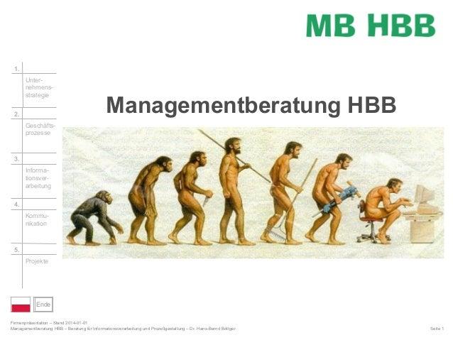 1. Unternehmensstrategie 2.  Managementberatung HBB  Geschäftsprozesse  3. Informationsverarbeitung 4. Kommunikation  5. P...
