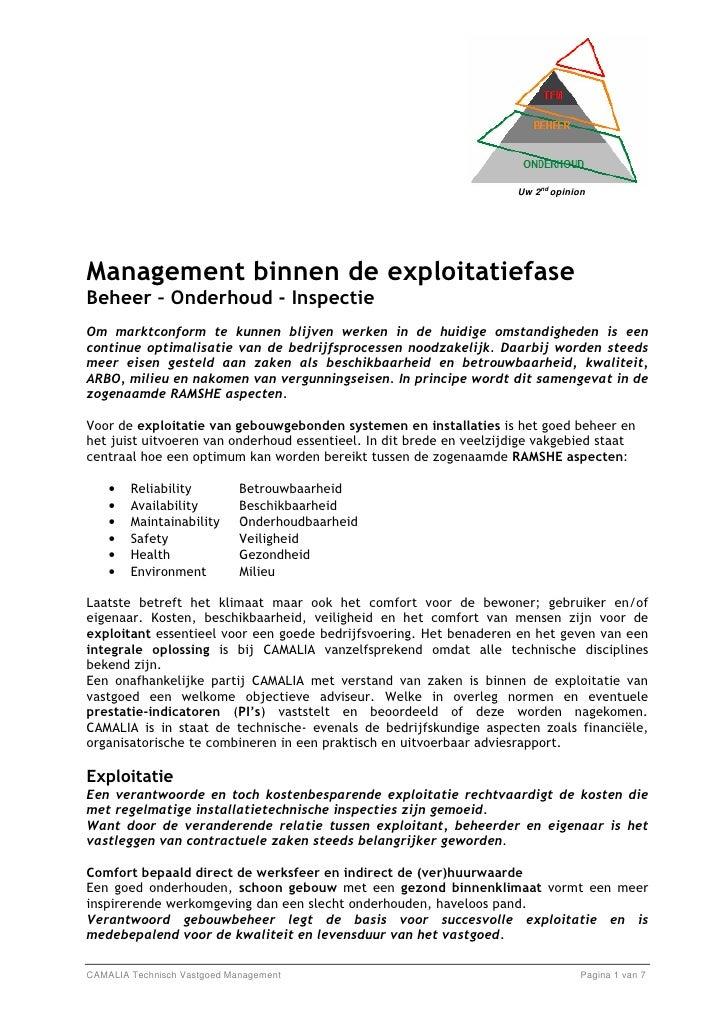 Management binnen de Exploitatiefase