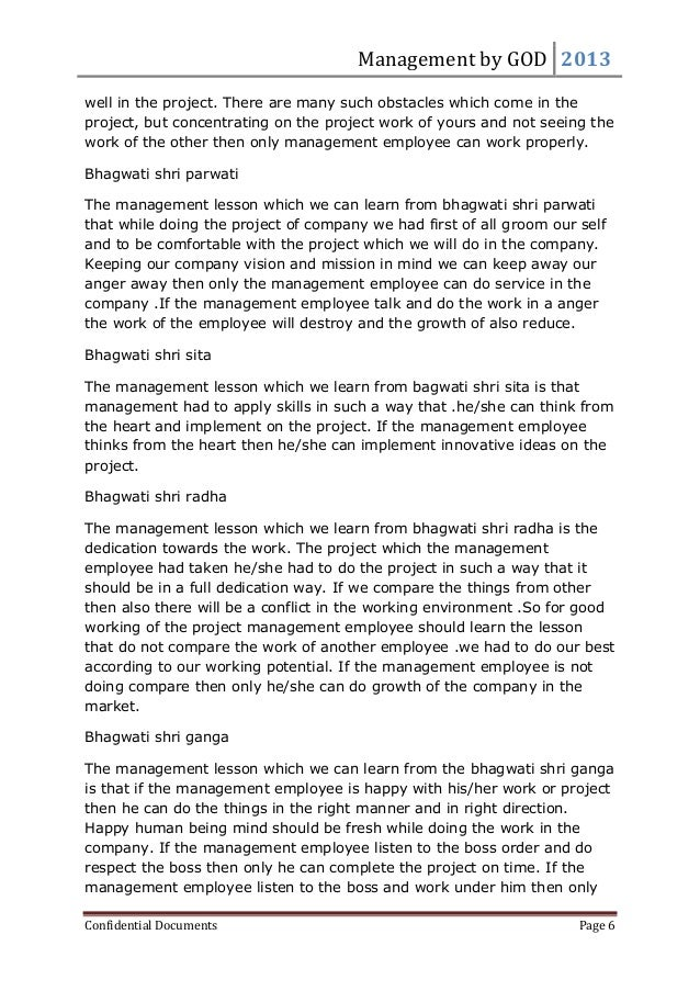 Management by GOD 2013 Confidential Documents Page 6 well in the project. There are many such obstacles which come in the ...