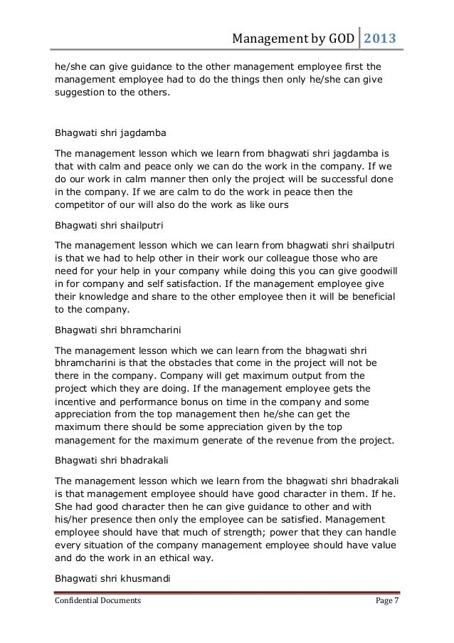 Management by GOD 2013 Confidential Documents Page 7 he/she can give guidance to the other management employee first the m...