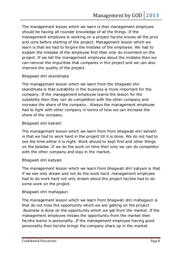 Management by GOD 2013 Confidential Documents Page 8 The management lesson which we learn is that management employee shou...
