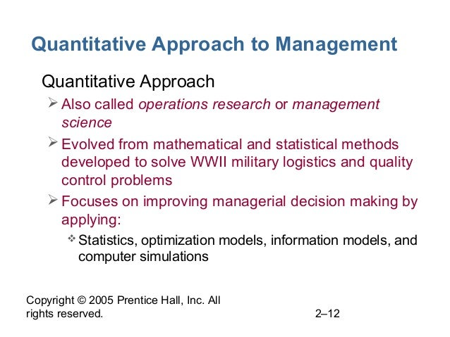 Copyright © 2005 Prentice Hall, Inc. All rights reserved. 2–12 Quantitative Approach to Management • Quantitative Approach...