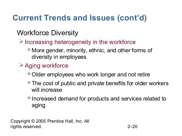 Copyright © 2005 Prentice Hall, Inc. All rights reserved. 2–20 Current Trends and Issues (cont'd) • Workforce Diversity I...