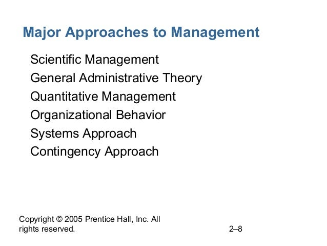 Copyright © 2005 Prentice Hall, Inc. All rights reserved. 2–8 Major Approaches to Management • Scientific Management • Gen...
