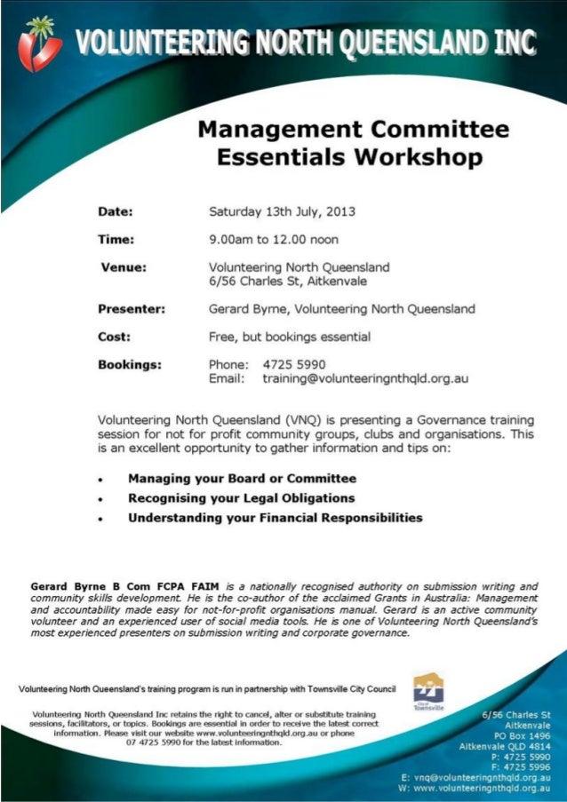 Management Committee Essentials Workshop Gerard Byrne Townsville 13 July 2013