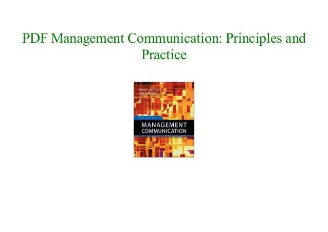 Management Communication Principles And Practice Pdf
